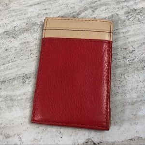 J Crew Red and Tan Card Wallet